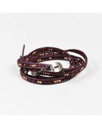 Chan Luu - Purple Leather Sterling Silver Crystal Beaded Wrap Bracelet - Lyst