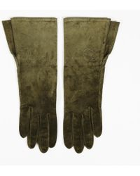 Chanel - Green Suede 'cc' Gloves - Lyst