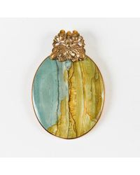 Stephen Dweck - Gold Tone Green Marbled Stone Oversized Pendant - Lyst