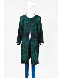 ESCADA | Metallic Green & Black Silk & Wool Blend Long Jacket | Lyst