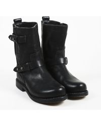 4b0b7bfc0d6 Rag   Bone - Black Leather Round Toe Ankle Boots - Lyst