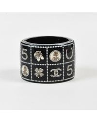 "Chanel - 14c Black Quilted Faux Pearl Logo ""lucky Charms"" Bracelet - Lyst"