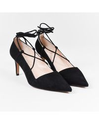 Pura López - Nib Black Suede Leather Lace Up Pointed Toe Pumps - Lyst