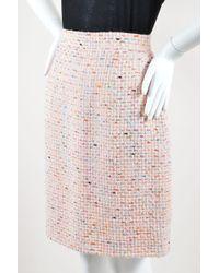 Chanel - Vintage Boutique 94p Pastel Pink Multicolor Wool Tweed Pencil Skirt - Lyst