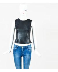 J. Mendel - Black Leather Panelled Round Neck Sleeveless Top - Lyst