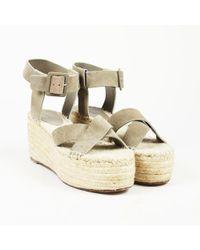 Céline - Brown Gray Suede Espadrille Platform Sandals - Lyst
