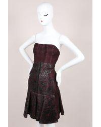 J. Mendel - Nwt Burgundy Black Silk Metallic Lace Strapless Dress - Lyst