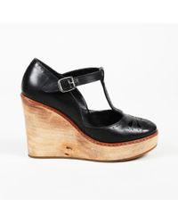 Chloé Leather T-strap Wedge Court Shoes