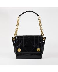 Lanvin - Black Quilted High Gloss Leather Multi Compartment Shoulder Bag - Lyst