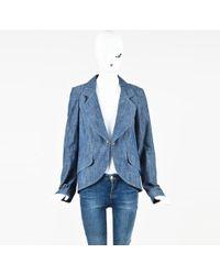 Chanel - Blue Denim 'cc' Link Button Jacket - Lyst