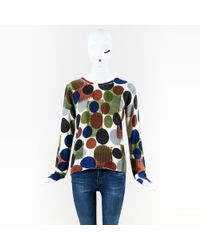 Lucien Pellat Finet - Multicolor Print Long Sleeve Cashmere Sweater - Lyst