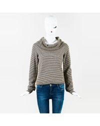 Chanel - Fall 2015 Brown & Cream Long Sleeve Striped Cowl Neck Sweater - Lyst