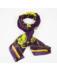 Hermès - Purple Multicolour Silk Cotton Scarf - Lyst