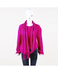 Chanel - Alpaca Knit Sweater And Scarf - Lyst