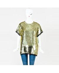 Proenza Schouler - Metallic Gold Silk Short Sleeve Sequined Top - Lyst