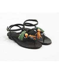 Henry Beguelin - Brown Leather Embellished Ankle Strap Sandals - Lyst