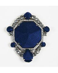 Lanvin - Blue Silk Silver Tone Metal & Crystal Embellished Brooch - Lyst