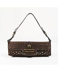 Jimmy Choo - Brown & Metallic Gold Suede & Leather Lasercut Bag - Lyst