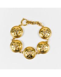 Chanel - Vintage Gold Tone Metal 'cc' Quilted Medallion Bracelet - Lyst