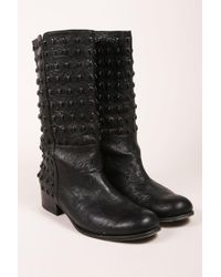 Thomas Wylde - Black Studded Skull Leather Boots - Lyst