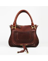 6088447f9bc Lyst - Chloé Leather   Python Perforated Patchwork Top-handle Bag in ...