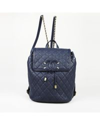 Chanel - Blue Leather Backpacks - Lyst