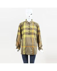 Burberry Brit - Multicolor Cotton Blend Long Sleeve Plaid Popover Shirt - Lyst