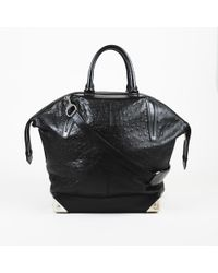 """Alexander Wang - """"emile"""" Large Embossed Ostrich Leather Satchel - Lyst"""