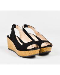 Fendi - Black Suede Wooden Peep Toe Platform Slingback Sandals - Lyst