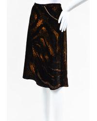 Class Roberto Cavalli - Black & Tan Velvet Chain Embellished Skirt - Lyst