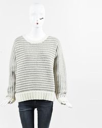 Wes Gordon - White & Taupe Wool & Cashmere Purl Knit Jumper - Lyst