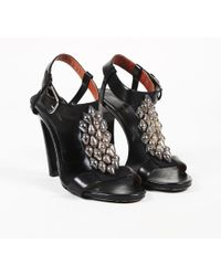 Dries Van Noten - Black Leather Beaded Ankle Strap Sandals - Lyst
