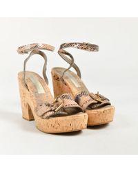 Stella McCartney Beige Vegan Leather Cork Platform Ankle Strap Sandals