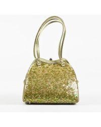 Judith Leiber - Green Satin Sequined Embellished Handbag - Lyst