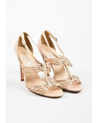 Chanel - Beige Nude Leather Strappy Knotted High Heel Sandals - Lyst