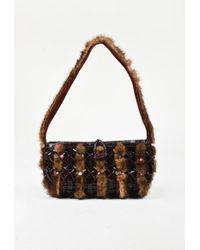 Nancy Gonzalez - Brown Genuine Crocodile Suede & Mink Trimmed Shoulder Bag - Lyst