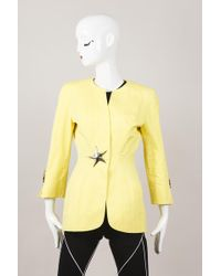 Thierry Mugler - Vintage Yellow Cotton Embellished Structured Jacket - Lyst