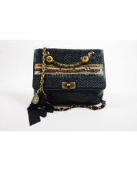 Lanvin - Black Satin Bijoux Sequin Turnlock 'happy' Shoulder Bag - Lyst