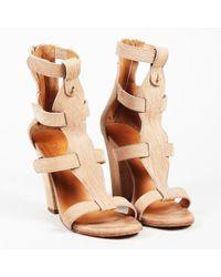 Chloé - Beige Leather Open Toe Gladiator Sandals - Lyst