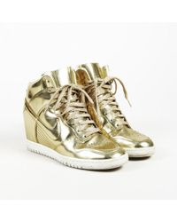 """Nike - """"dunk Sky Hi"""" Gold Patent Leather Wedge Sneakers - Lyst"""