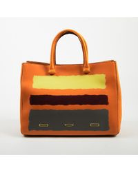 "VBH - Limited Edition Orange Multicolour Leather Painted Stripe ""pandora"" Tote Bag - Lyst"