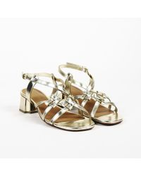 Robert Clergerie - Metallic Gold Leather Strappy Sandals - Lyst