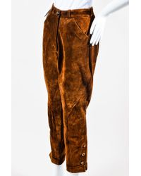 Hermès - 7583 Vintage Nwt Brown Suede Button Leg Cuffed Riding Pants - Lyst