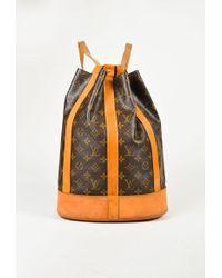 "Louis Vuitton - Vintage Brown Monogram Coated Canvas ""randonnee Pm"" Backpack - Lyst"