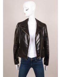 Alaïa | Dark Brown Leather Zip Long Sleeve Jacket | Lyst