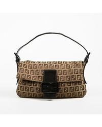 "Fendi - Brown ""zucchino"" Canvas & Leather Trimmed Shoulder Bag - Lyst"