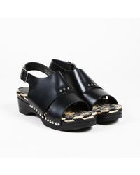 Thakoon Addition - Black Leather Open Toe Espadrille Slingback Sandals - Lyst
