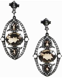 Unbranded - Smoky Quartz White Topaz & Sterling Silver Drop Earrings - Lyst