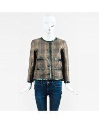 Chanel - Green Multi Plaid Print Textile & Snakeskin Trim Jacket - Lyst