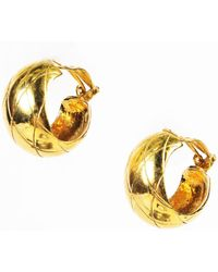 Chanel - Vintage Gold Tone Quilted Hoop Earrings - Lyst